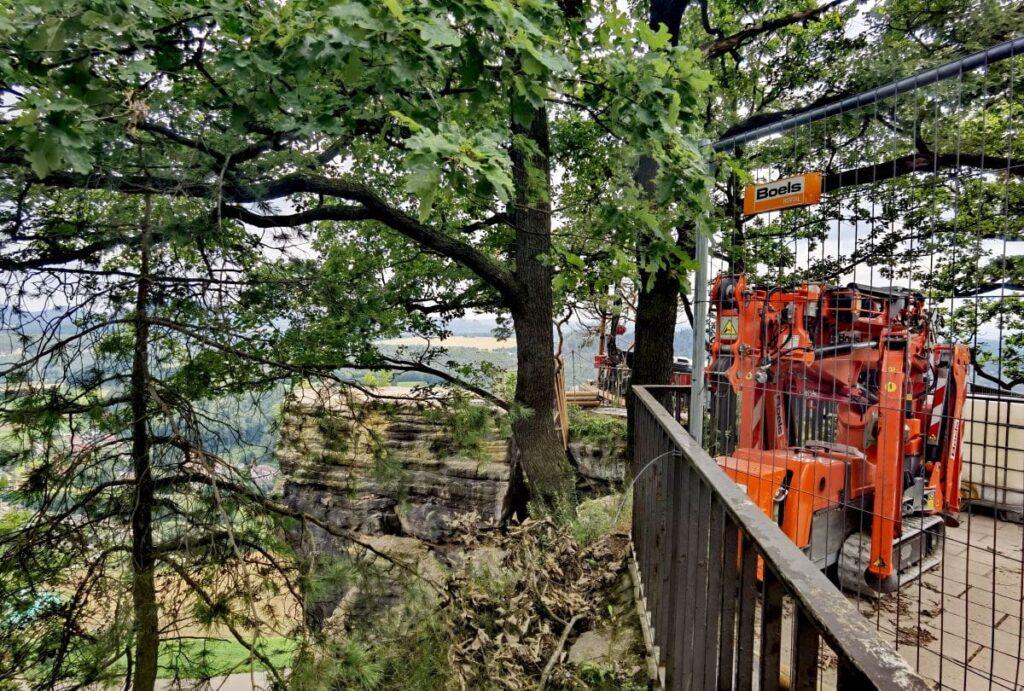 Bauarbeiten auf der ehemaligen Basteiaussicht